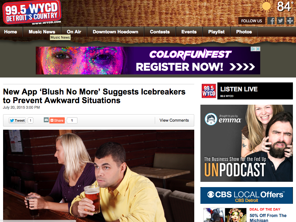 """New App 'Blush No More' Suggests Icebreakers to Prevent Awkward Situations"""